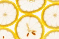 Куски лимона на белой предпосылке Картина Макрос Стоковое Фото