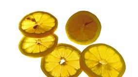 Куски лимона оранжевого желтого цвета Стоковые Изображения RF