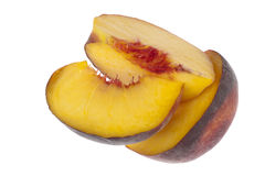 Куски персика изолированные в белизне Стоковое Изображение RF