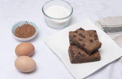 Куски пирожного шоколада на белой плите Стоковая Фотография
