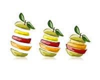 Куски плодоовощей, форма яблока Эскиз для вашего Стоковое Изображение