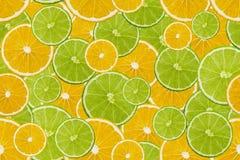 Куски свежей картины известки и лимона безшовной Стоковое фото RF