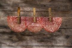 Куски смертной казни через повешение салями Стоковое фото RF