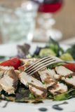 Куски стейка на салате стоковое изображение