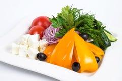 Куски сыра рассола, томата, петрушки, красного цвета и Стоковое Фото