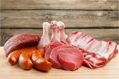 Куски сырого мяса, взгляд конца-вверх Стоковая Фотография