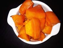 Куски тыквы с сахаром, испеченные в печи Стоковые Изображения