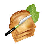 Куски хлеба при изолированный нож Бесплатная Иллюстрация