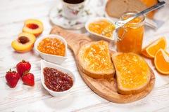 Куски хлеба с вареньем Стоковое Изображение RF
