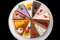 12 кусков пирога на черноте Стоковое Фото