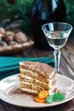 Кусок домодельного наслоенного торта меда с сотом и мятой, традиционной едой еврейское новое близко Сладостная еда Стоковые Изображения
