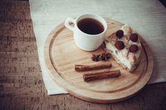 Кусок домодельных пирога и кофе Стоковая Фотография RF
