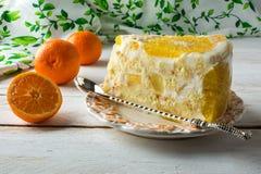 Кусок очень вкусного белого пирога плодоовощ студня Стоковые Фотографии RF