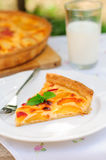 Кусок пирога заварного крема персика стоковое фото rf