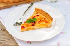 Кусок пирога заварного крема персика стоковые фотографии rf