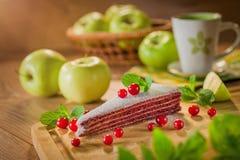 Кусок пирога и яблоки стоковая фотография rf
