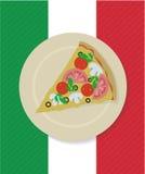 Кусок пиццы вектора на плите Стоковые Изображения RF