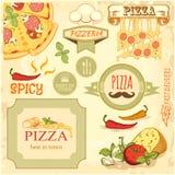 Кусок пиццы и ингридиенты предпосылка, комплексное конструирование ярлыка коробки иллюстрация вектора