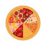 Кусок 8 пицц Плоский дизайн также вектор иллюстрации притяжки corel бесплатная иллюстрация