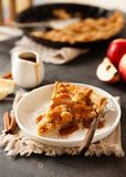 Кусок свеже испеченного яблочного пирога с соусом и циннамоном карамельки стоковое фото