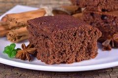 Кусок торта губки шоколада Стоковая Фотография