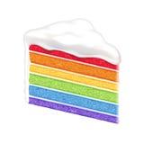 Кусок торта радуги на белой предпосылке иллюстрация вектора