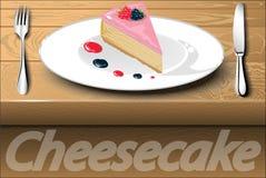 Кусок торта ягоды на плите с падениями sauce Стоковое Фото