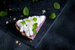 Кусок французского пирога с творогом и merengue поленики Стоковая Фотография