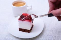 Кусок handmade пирога вишни на плите в белой предпосылке Стоковое Изображение RF