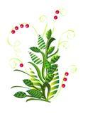 Зеленый абстрактный куст с ягодами Стоковое Изображение RF