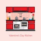 Кухня валентинки иллюстрация вектора