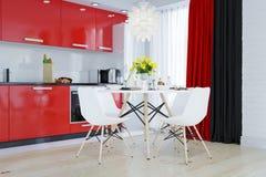 Кухня в красной, белый, чернота Стоковое Фото