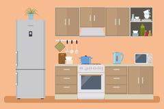Кухня в оранжевом цвете Стоковое Изображение