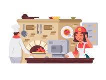 Кухня в пиццерии иллюстрация штока