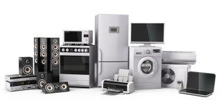 кухня икон дома конструкции приборов установила вашим Плита газа, кино ТВ, conditi воздуха холодильника иллюстрация вектора
