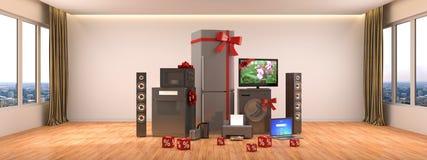 кухня икон дома конструкции приборов установила вашим Плита газа, кино ТВ, холодильник, микроволна, иллюстрация штока