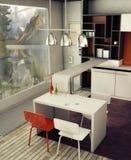 кухня интерьера конструкции Стоковое фото RF