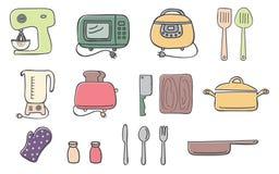 Кухня и значки варить Стоковые Изображения