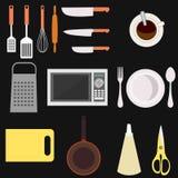 Кухня и рабочее место варить Изолированные иллюстрации вектора плоские Стоковое Изображение