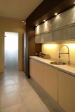 кухня квартиры самомоднейшая Стоковое фото RF