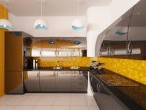 кухня конструкции 3d нутряная самомоднейшая представляет Стоковые Фотографии RF
