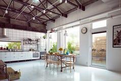 Кухня просторной квартиры Стоковые Фотографии RF
