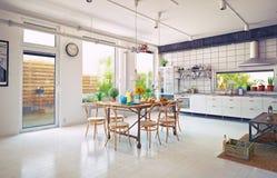 Кухня просторной квартиры Стоковое Изображение