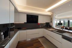 Кухня роскошной квартиры Стоковое фото RF