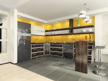 кухня самомоднейшая иллюстрация штока