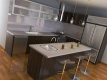 кухня самомоднейшая иллюстрация вектора