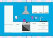 Кухня с интерьером мебели современным Дом внутрь Плоский стиль иллюстрация штока