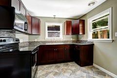 Кухня с яркими бургундскими шкафами и черными приборами Стоковые Изображения