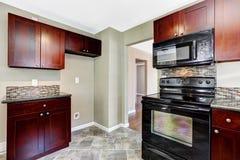 Кухня с яркими бургундскими шкафами и черными приборами Стоковое Изображение RF