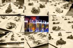 Кухня фьюжн (изысканные очень вкусные блюда и ресторанное обслуживаниа еды) Стоковые Фотографии RF